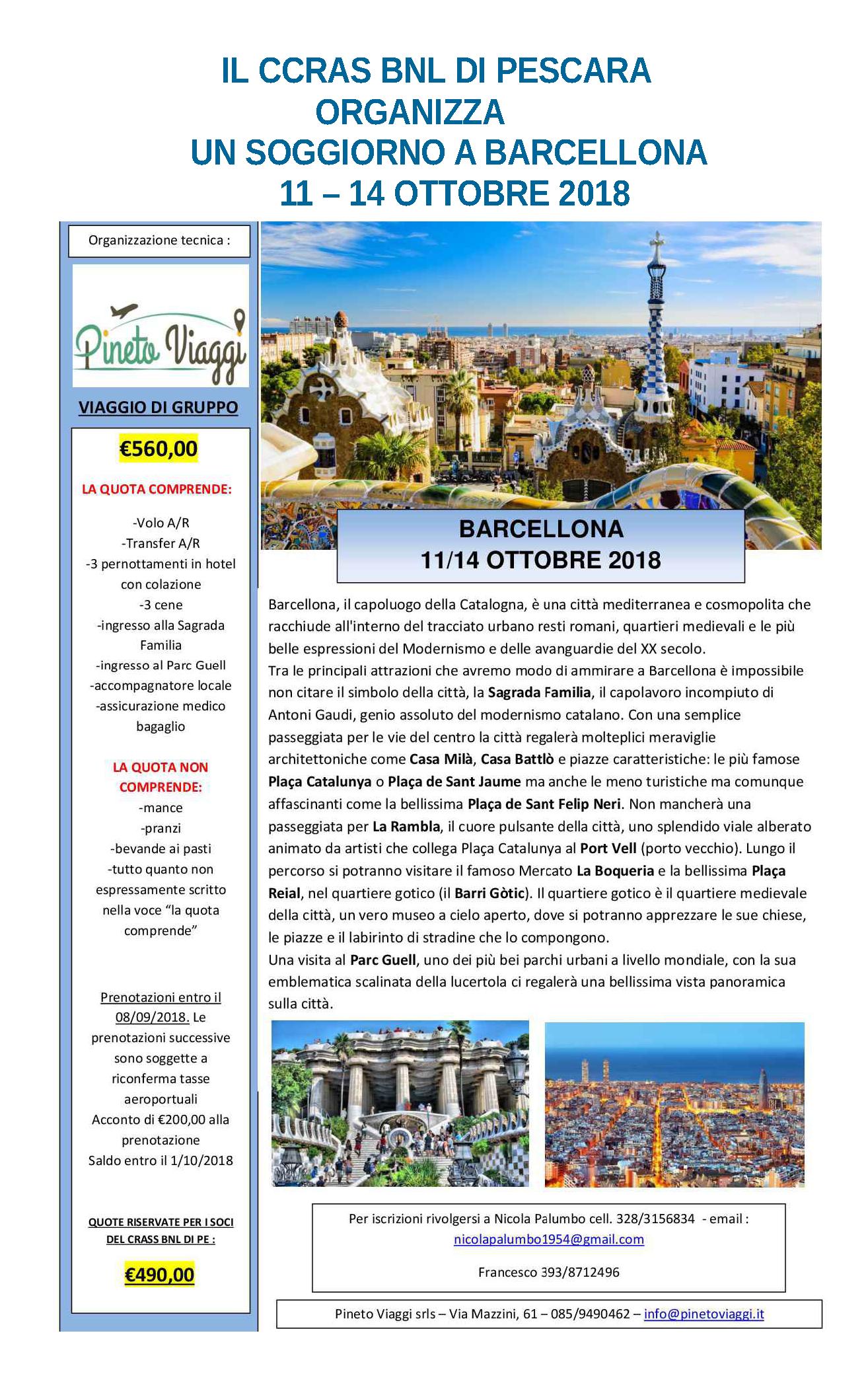 CCRAS BNL -Soggiorno a Barcellona 11/14 settembre 2018 | Intercral ...